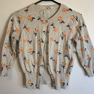 I Love H81 (forever 21) Cream Flower Sweater